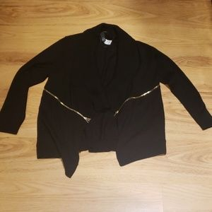 Black cardigan with gold zippers